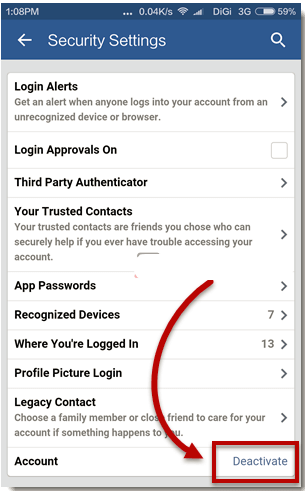 Deactivate Facebook Account via Mobile - How To