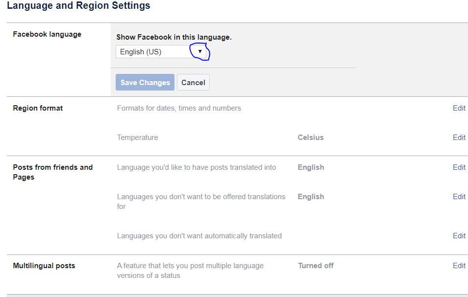 I Can't Access Facebook Language Change Option